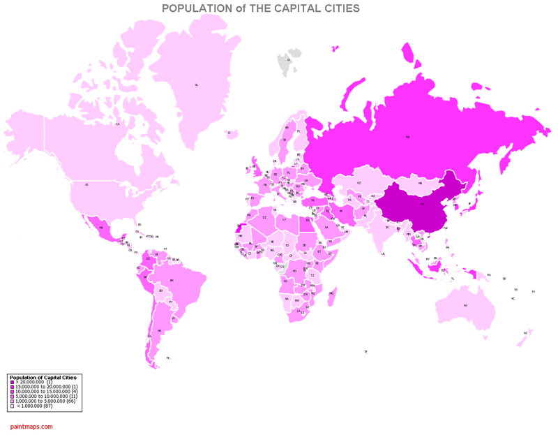 Colored Population of Capitals Map