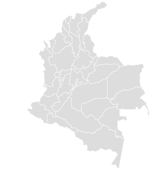 Color Blank Map of COLOMBIA with Statistics