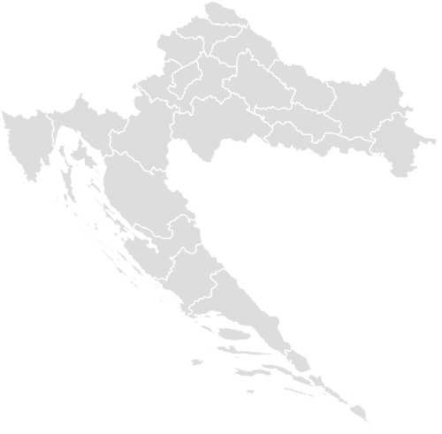 Color Blank Map of CROATIA with Statistics