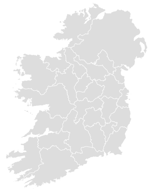 Color Blank Map of IRELAND with Statistics