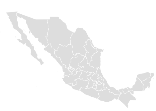 Color Blank Map of MEXICO with Statistics