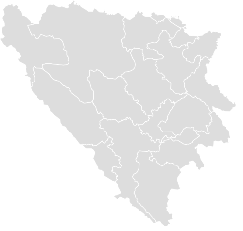 Color Blank Map of BOSNIA_HERZEGOVINA with Statistics