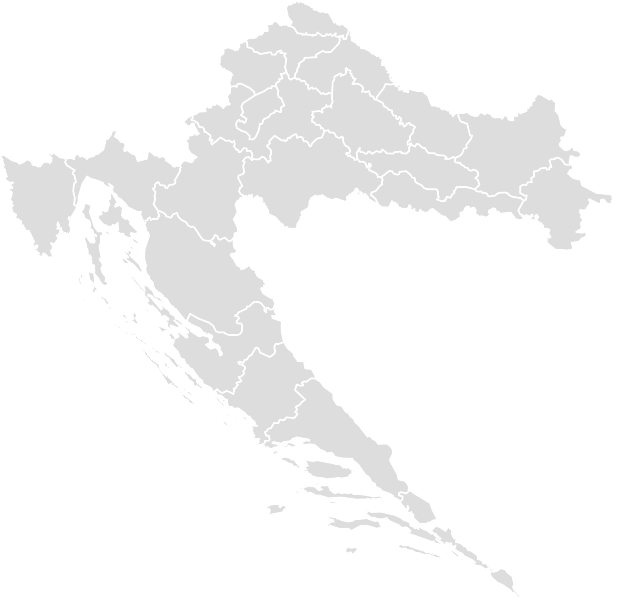 Printable Outline , Blank CROATIA Map (Grey Scale)
