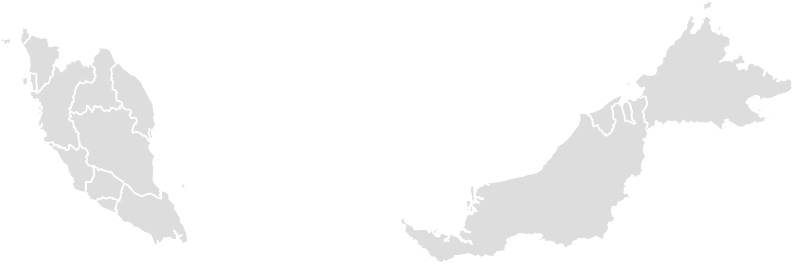 Printable Outline , Blank MALAYSIA Map (Grey Scale)