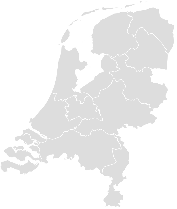 Printable Outline , Blank NETHERLANDS Map (Grey Scale)