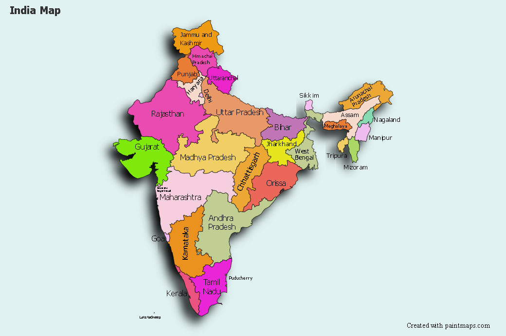 Picture of: Create Custom India Map Chart With Online Free Map Maker