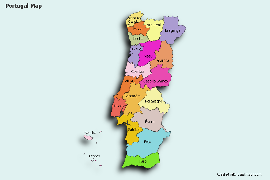 Create Custom Portugal Map Chart With Online Free Map Maker - Mapchart